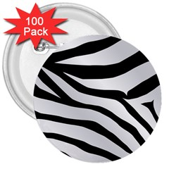 White Tiger Skin 3  Buttons (100 Pack)  by BangZart