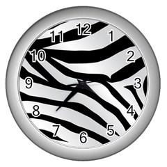 White Tiger Skin Wall Clocks (silver)  by BangZart