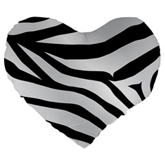 White Tiger Skin Large 19  Premium Heart Shape Cushions by BangZart