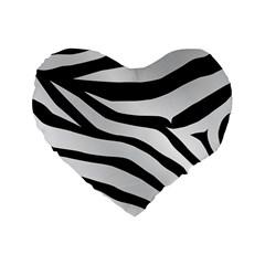 White Tiger Skin Standard 16  Premium Flano Heart Shape Cushions by BangZart
