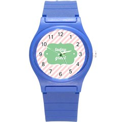 Today Will Be Great Round Plastic Sport Watch (s) by BangZart