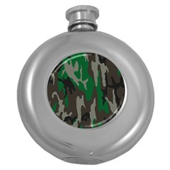 Army Green Camouflage Round Hip Flask (5 Oz) by BangZart