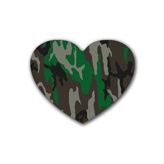 Army Green Camouflage Rubber Coaster (heart)