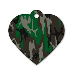 Army Green Camouflage Dog Tag Heart (two Sides)