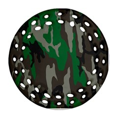 Army Green Camouflage Ornament (round Filigree) by BangZart