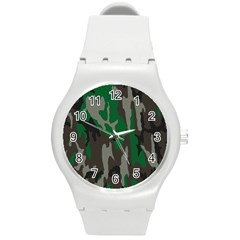 Army Green Camouflage Round Plastic Sport Watch (m)