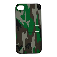 Army Green Camouflage Apple Iphone 4/4s Hardshell Case With Stand by BangZart