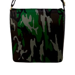 Army Green Camouflage Flap Messenger Bag (l)