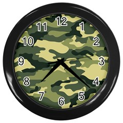 Camouflage Camo Pattern Wall Clocks (black) by BangZart