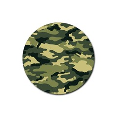 Camouflage Camo Pattern Rubber Coaster (round)