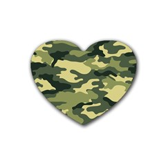 Camouflage Camo Pattern Rubber Coaster (heart)