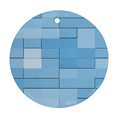 Blue Squares Iphone 5 Wallpaper Ornament (round) by BangZart