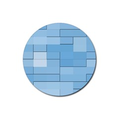 Blue Squares Iphone 5 Wallpaper Rubber Coaster (round)  by BangZart