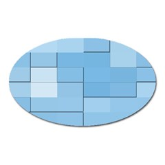 Blue Squares Iphone 5 Wallpaper Oval Magnet by BangZart