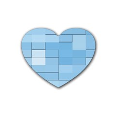 Blue Squares Iphone 5 Wallpaper Rubber Coaster (heart)  by BangZart