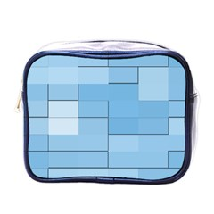 Blue Squares Iphone 5 Wallpaper Mini Toiletries Bags by BangZart