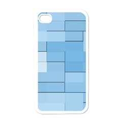 Blue Squares Iphone 5 Wallpaper Apple Iphone 4 Case (white) by BangZart