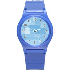 Blue Squares Iphone 5 Wallpaper Round Plastic Sport Watch (s) by BangZart