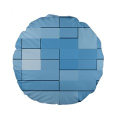 Blue Squares Iphone 5 Wallpaper Standard 15  Premium Round Cushions by BangZart
