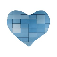Blue Squares Iphone 5 Wallpaper Standard 16  Premium Heart Shape Cushions by BangZart