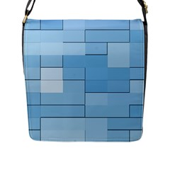Blue Squares Iphone 5 Wallpaper Flap Messenger Bag (l)  by BangZart