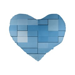 Blue Squares Iphone 5 Wallpaper Standard 16  Premium Flano Heart Shape Cushions