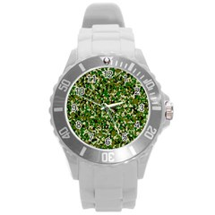 Camo Pattern Round Plastic Sport Watch (l) by BangZart
