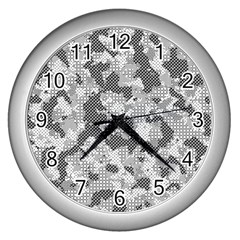 Camouflage Patterns Wall Clocks (silver)  by BangZart