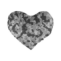 Camouflage Patterns Standard 16  Premium Flano Heart Shape Cushions by BangZart