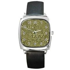 Aligator Skin Square Metal Watch
