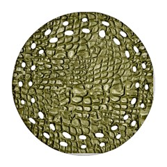 Aligator Skin Round Filigree Ornament (two Sides)