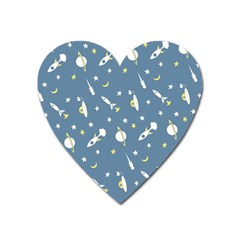 Space Rockets Pattern Heart Magnet