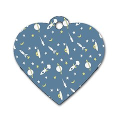 Space Rockets Pattern Dog Tag Heart (two Sides)
