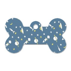 Space Rockets Pattern Dog Tag Bone (two Sides)