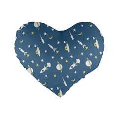 Space Rockets Pattern Standard 16  Premium Heart Shape Cushions