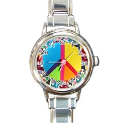 Peace Sign Animals Pattern Round Italian Charm Watch by BangZart