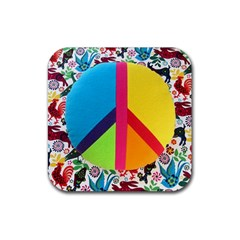 Peace Sign Animals Pattern Rubber Square Coaster (4 Pack)  by BangZart