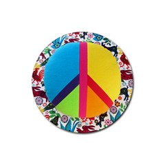 Peace Sign Animals Pattern Rubber Round Coaster (4 Pack)  by BangZart