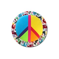 Peace Sign Animals Pattern Magnet 3  (round)