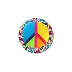 Peace Sign Animals Pattern Golf Ball Marker (4 Pack)