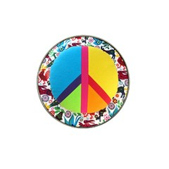 Peace Sign Animals Pattern Hat Clip Ball Marker (10 Pack)