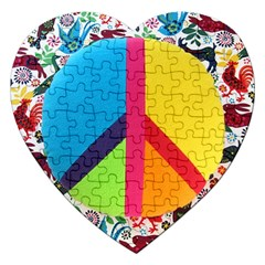 Peace Sign Animals Pattern Jigsaw Puzzle (heart)