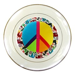 Peace Sign Animals Pattern Porcelain Plates by BangZart