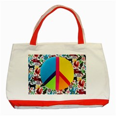 Peace Sign Animals Pattern Classic Tote Bag (red)