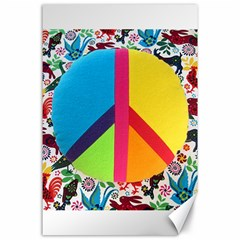 Peace Sign Animals Pattern Canvas 24  X 36