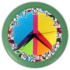 Peace Sign Animals Pattern Color Wall Clocks