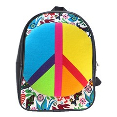 Peace Sign Animals Pattern School Bags(large)  by BangZart