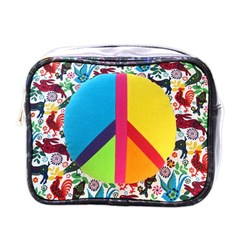 Peace Sign Animals Pattern Mini Toiletries Bags
