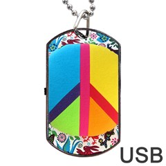 Peace Sign Animals Pattern Dog Tag Usb Flash (one Side)