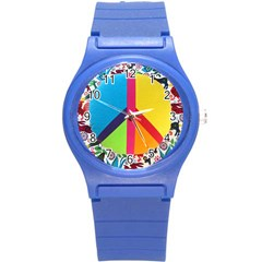 Peace Sign Animals Pattern Round Plastic Sport Watch (s) by BangZart